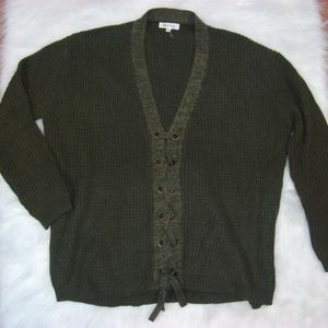 Boutique Miracle Olive Green Lace Up Cozy Sweater